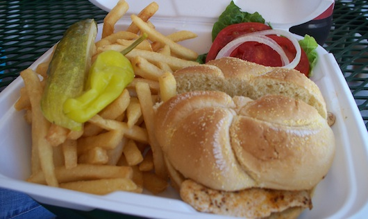 Grilled Chicken Sandwich at 3rd Street Cafe in Olde Naples Florida