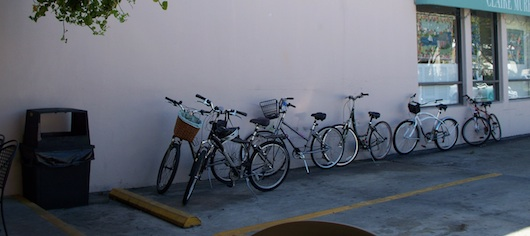 A bunch of bicycles parked at 3rd Street Cafe for lunch in Naples Florida
