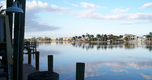 View of the bay behind Lighthouse Inn and Buzz's Lighthouse Restaurant