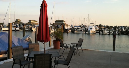 Outside area to sit and enjoy views of bay at The Cove Inn