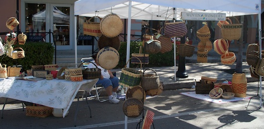 Baskets at the Farmers Market on Third Street South in Naples Florida