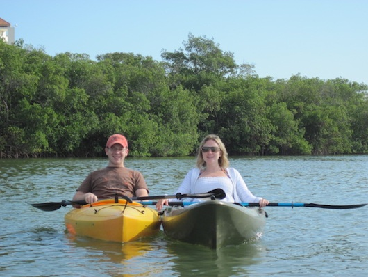 Alex and Andrea kayaking in Naples Florida mangroves