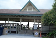 Covered picnic tables at Lowdermilk Beach