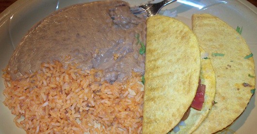 Two Tacos, Rice, and Beans at Mr Tequila in Naples Florida