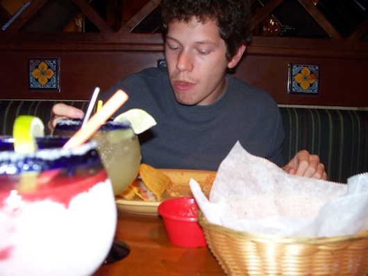 Alex eating at Mr Tequila Mexican Restaurant in Naples Florida