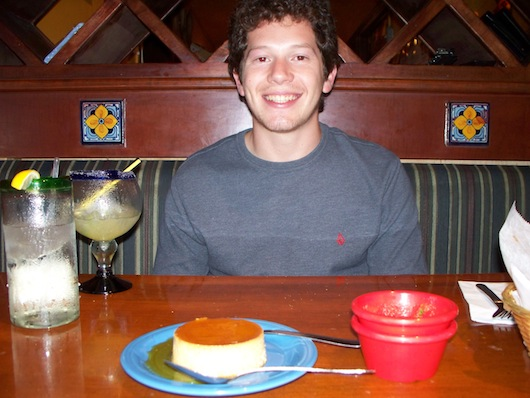 Alex with flan at Mr Tequila