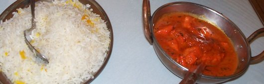 Chicken Tikka Masala and Basmati Rice at Passage to India in Naples